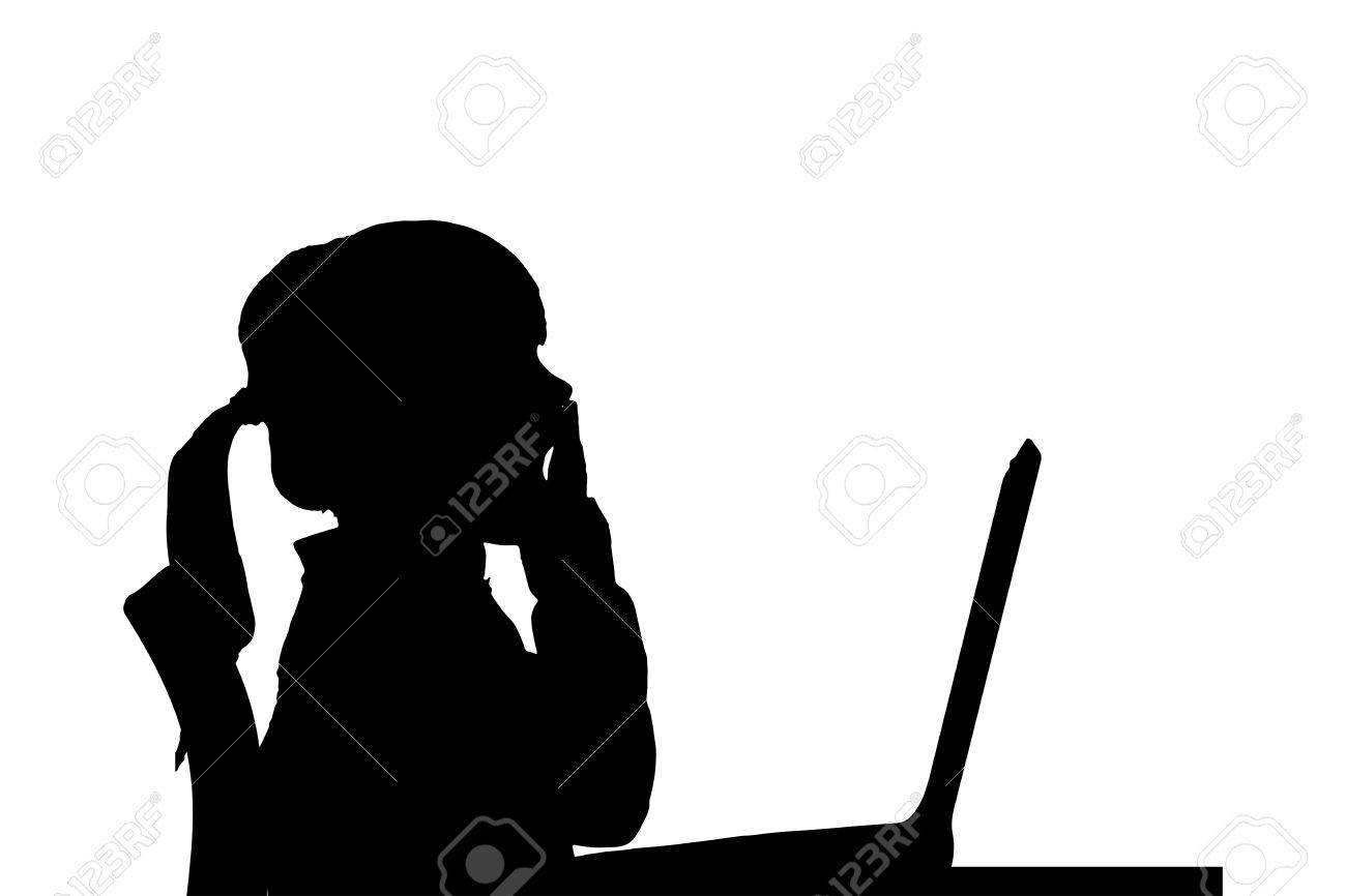 vector silhouette of a girl sitting at a computer on a white background stock vector