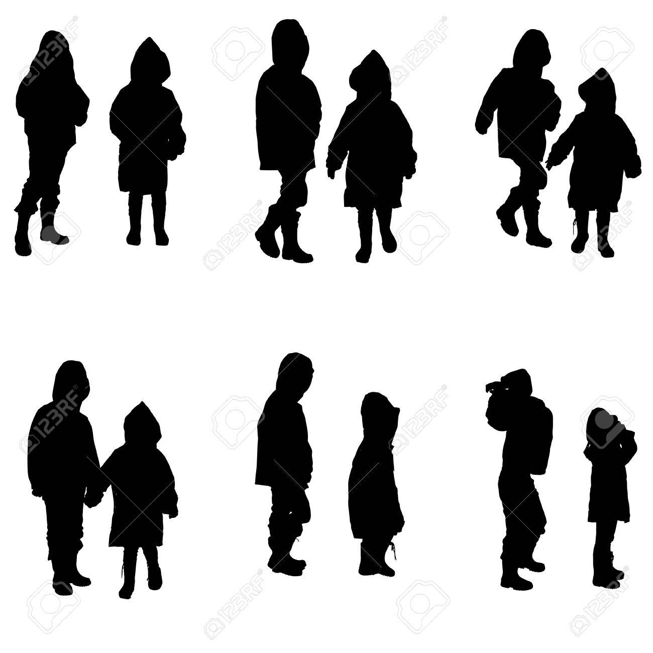 Vector Silhouette Of Children In Raincoats On White Background