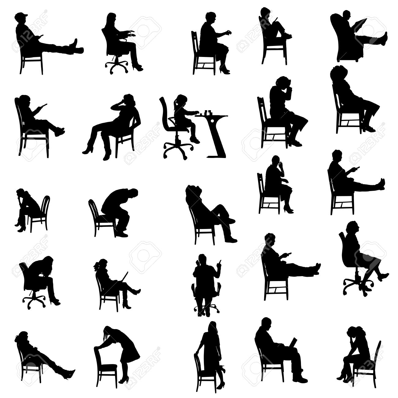 Vector Silhouettes Of People Sitting In A Chair. Royalty Free ...