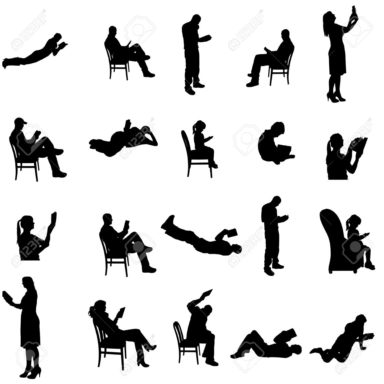 Silhouettes Of People Sitting In A Chair. Royalty Free Cliparts ...