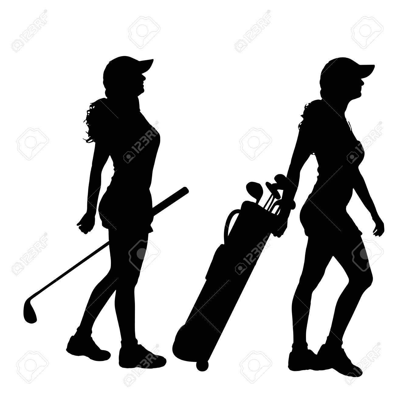 Vector Silhouette Of The Woman Who Plays Golf Royalty Free Cliparts