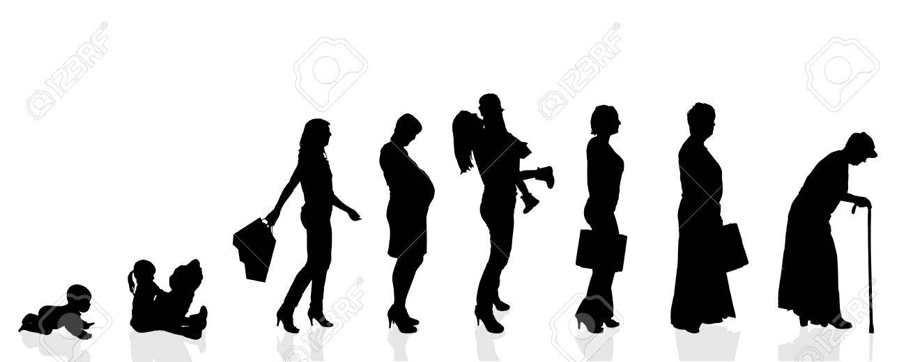 Vector silhouette generation women on a white background. - 35553713