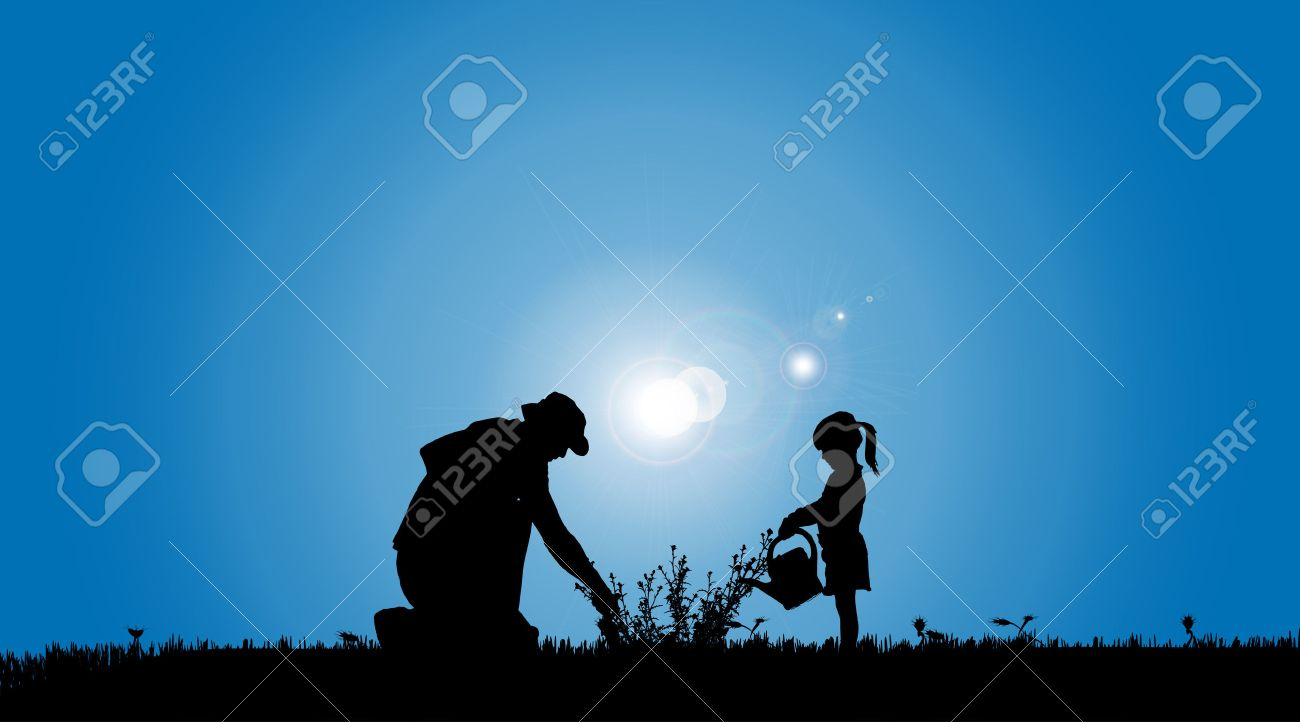 Vector silhouettes of family working in the garden. - 35716852