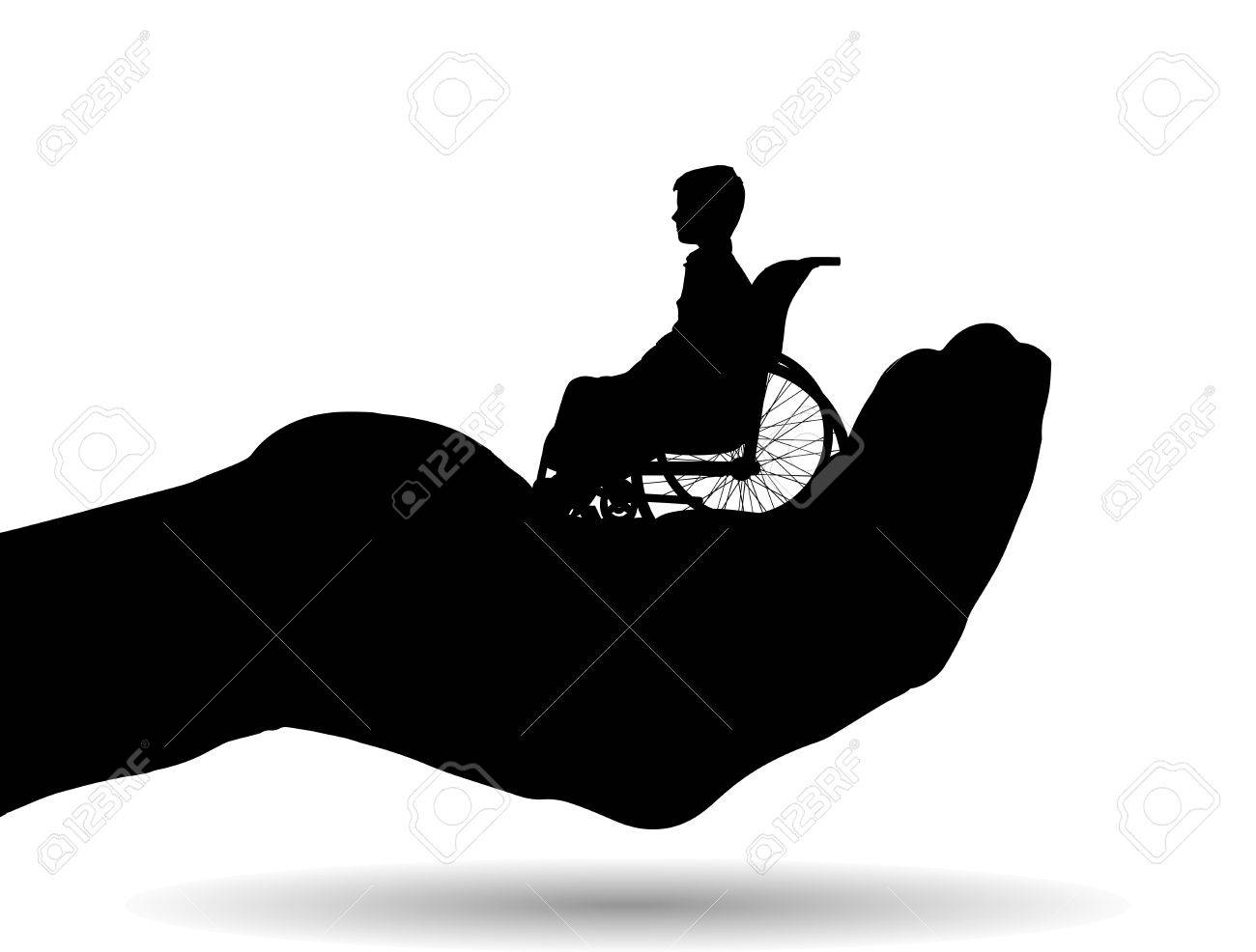 Vector silhouette of a boy on palm on white background. - 35859943