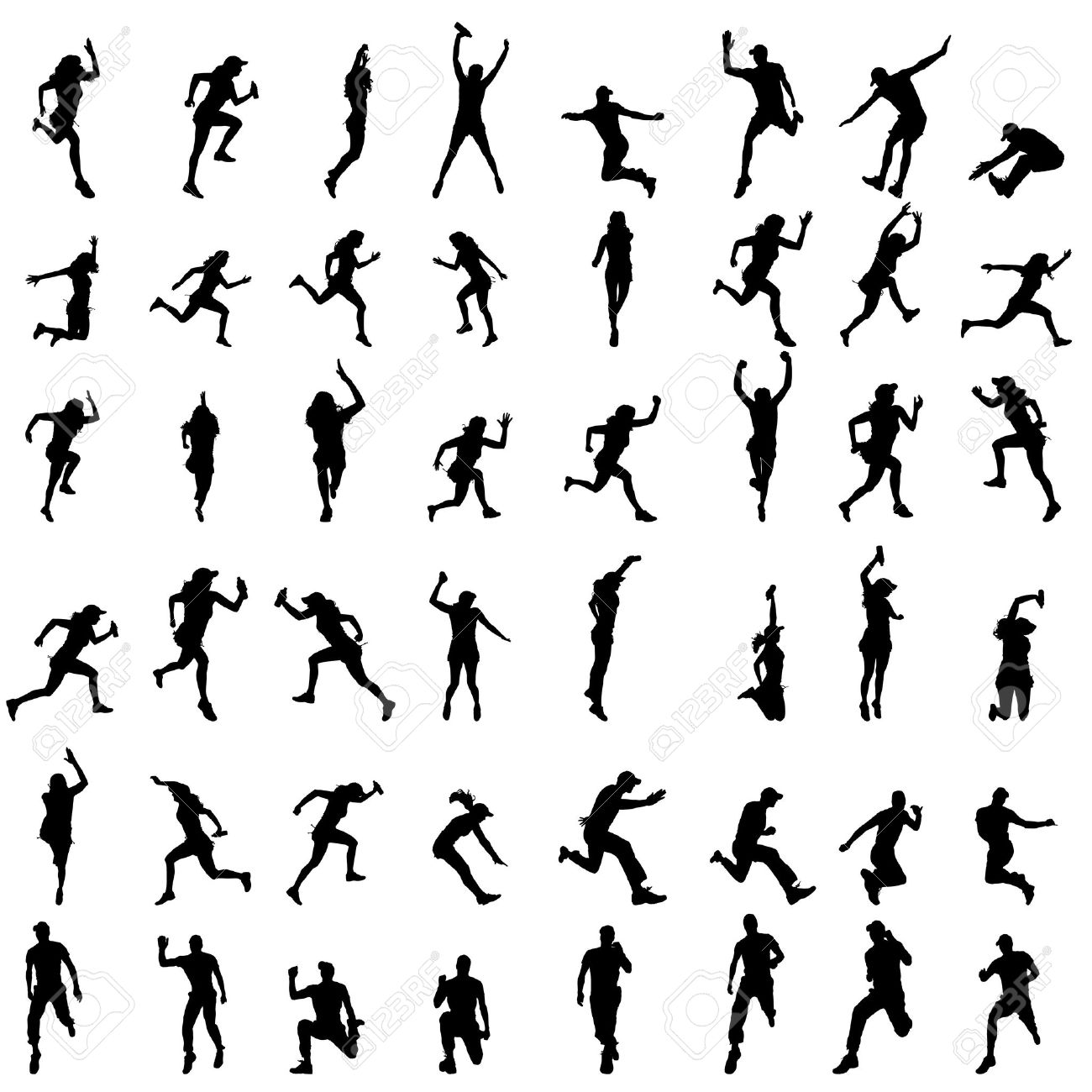 Vector silhouette of people who run on a white background. - 36644404