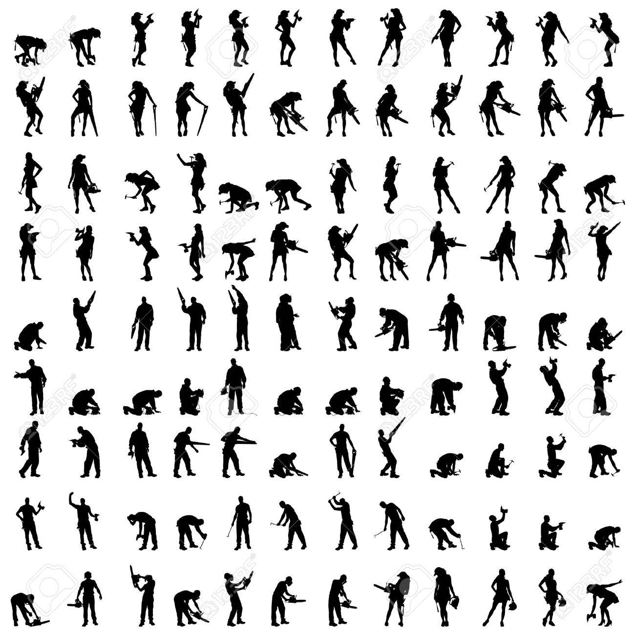 Vector silhouette of a people who is a worker and has the tools. - 36644465