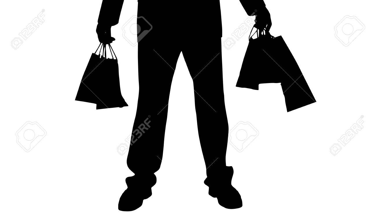 Vector Silhouette Of A Man With A Shopping Bag. Royalty Free ...