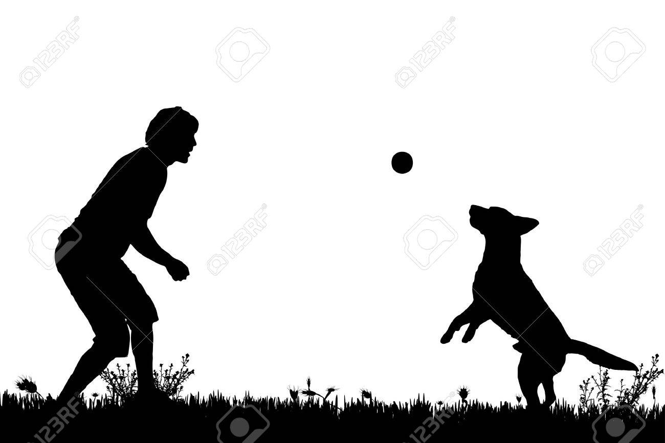 Vector silhouette of a man with a dog on a meadow. - 41754448
