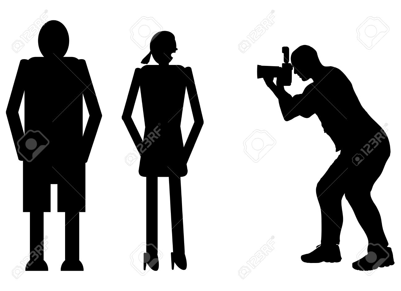 funny silhouette photographer at work like paparazzi stock vector 41755799