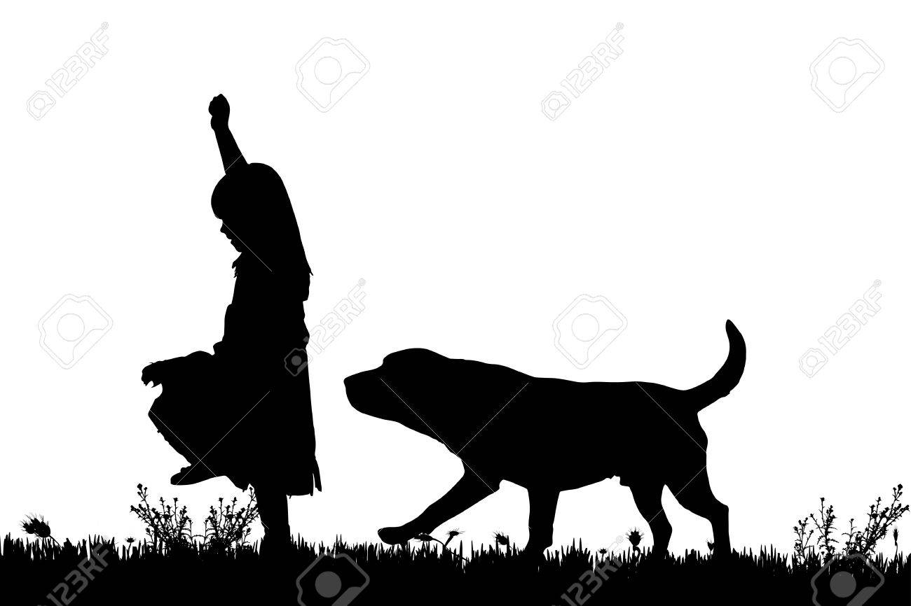 Vector silhouette of a girl with a dog on a white background. - 43326481
