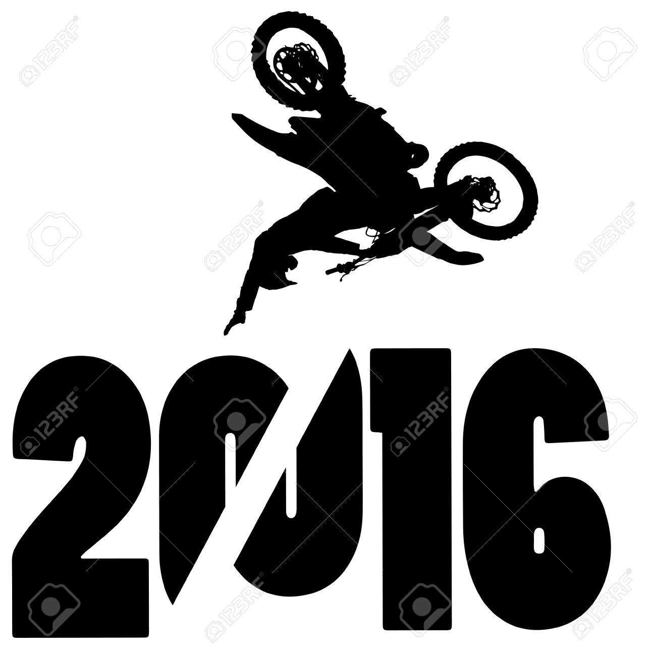 black silhouette vector illustration 2016 New Year - 46204129