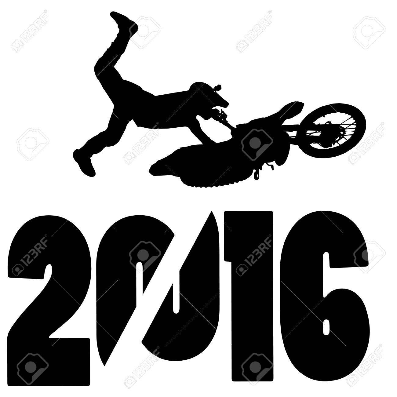 black silhouette vector illustration 2016 New Year - 46204143