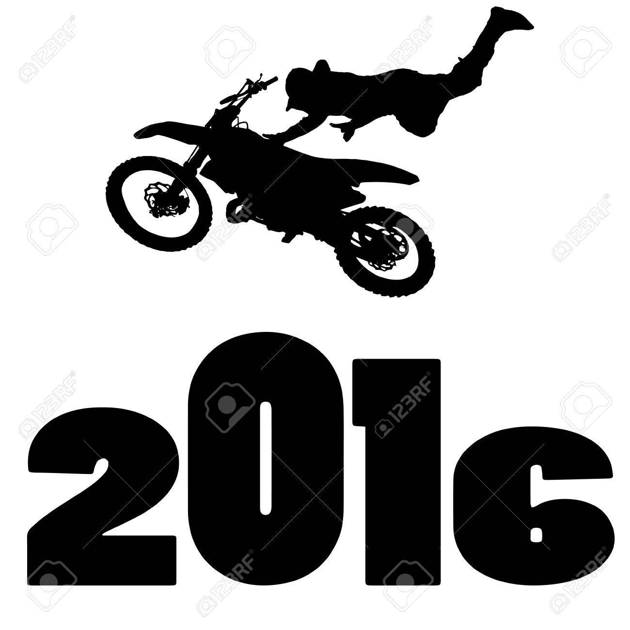 black silhouette vector illustration 2016 New Year - 46204289