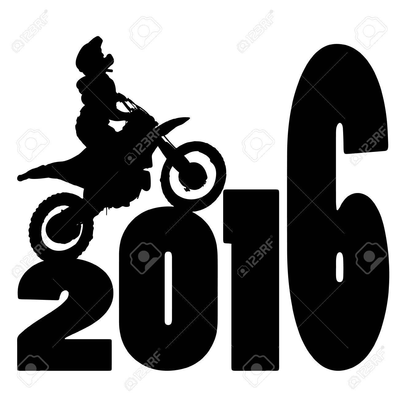 black silhouette vector illustration 2016 New Year - 46232036