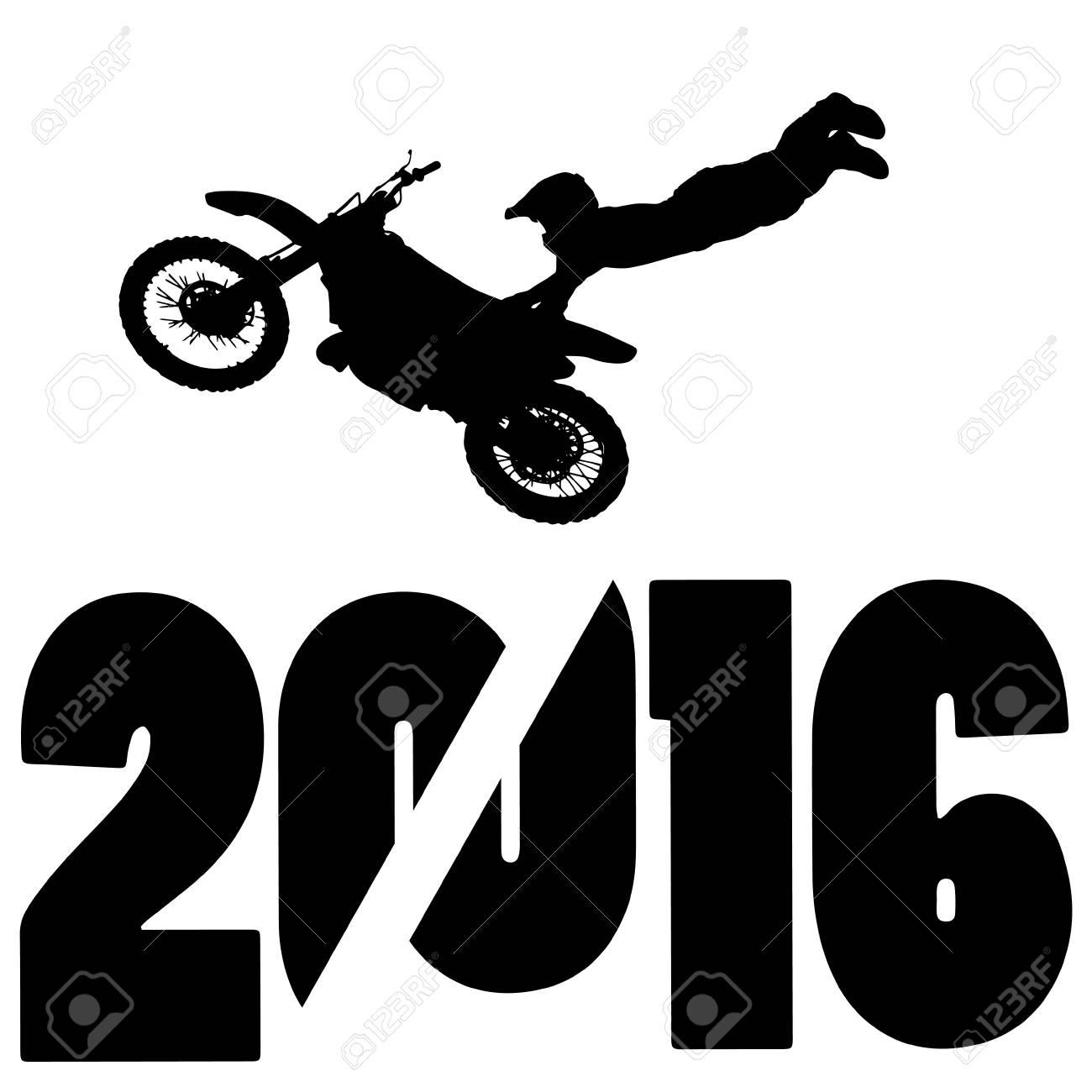 black silhouette vector illustration 2016 New Year - 46233293