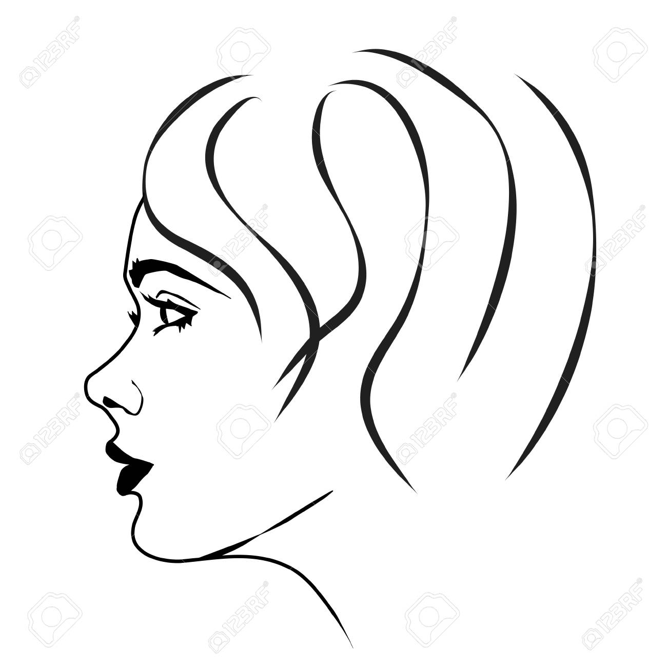 Vector illustration of a woman's face on white background. - 53815491