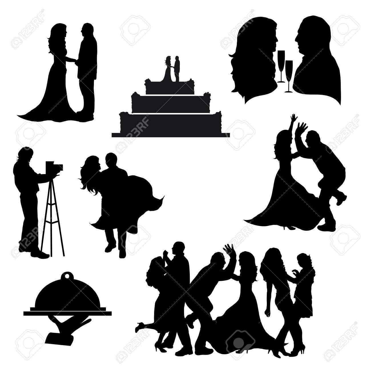 Vector Silhouetten Von Hochzeit Symbole Auf Weissem Hintergrund