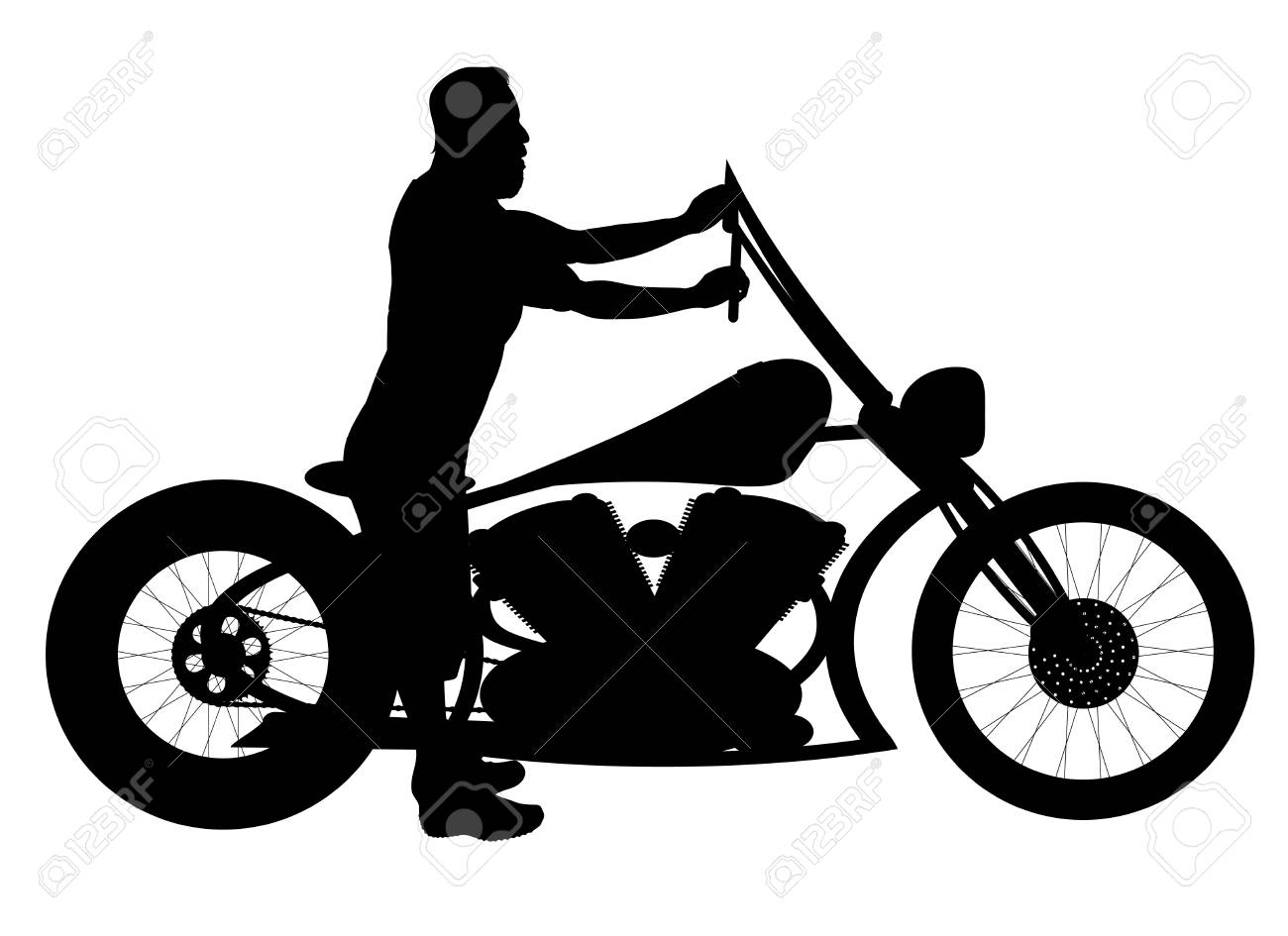 vector silhouette motorcycle and man on white background royalty rh 123rf com vector motorcycle logo yamaha fjr vector motorcycle logo yamaha fjr