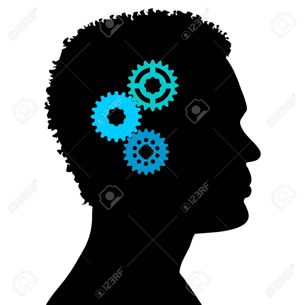 Black Silhouette Thinking Person On White Background Royalty Free ... for Person Thinking Silhouette  186ref