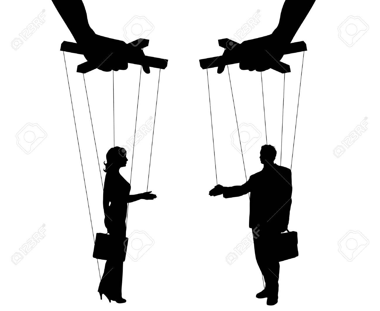 Vector illustration silhouettes man and woman of symbol manipulation - 67919126