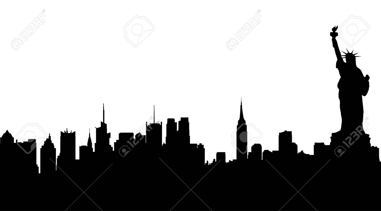 Vector silhouette of New York on white background. - 78794855