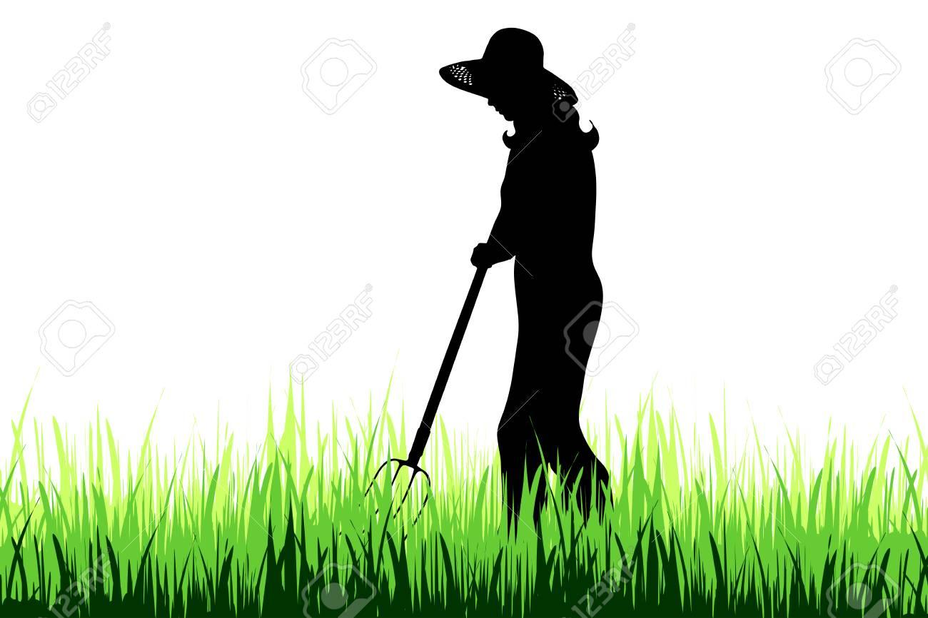 Vector silhouette of gardener on the garden. - 110528402
