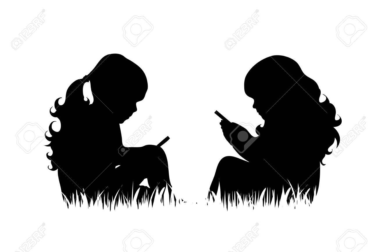 Vector silhouette of girls with phone sit in the grass on white background. - 109717706