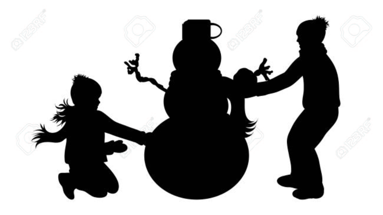 Vector Silhouette Of Children With Snowman Royalty Free Cliparts Vectors And Stock Illustration Image 127268821