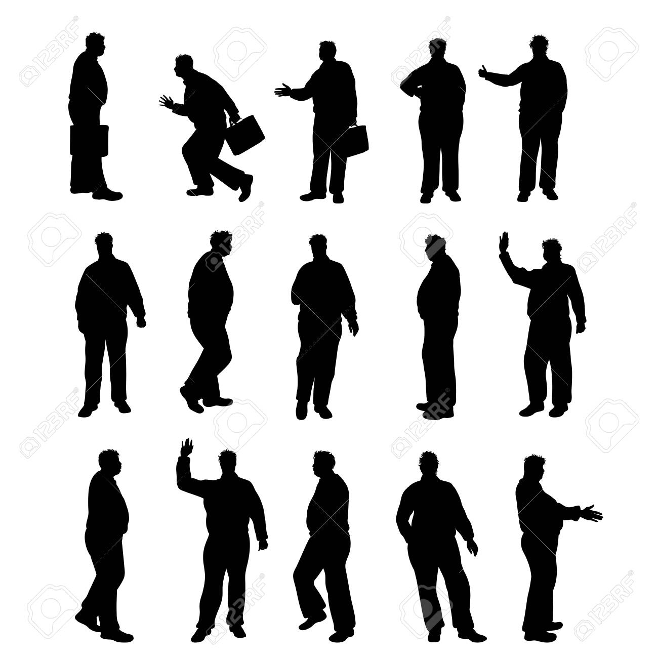 Set of vector silhouette of obese men on white background. Symbol of elderly people in different pose. - 142506599