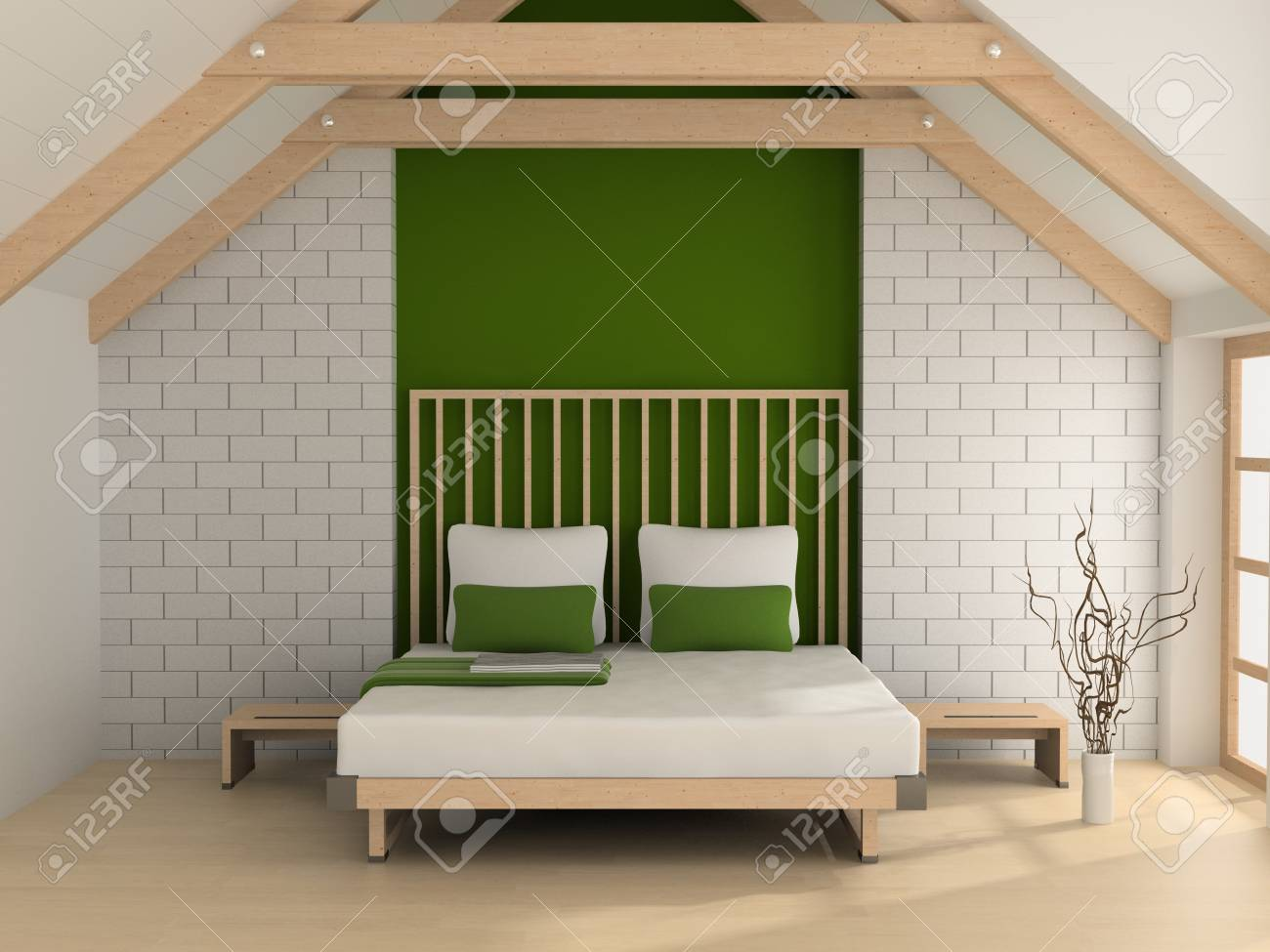 Modern interior of a bedroom room 3D Stock Photo - 7109245