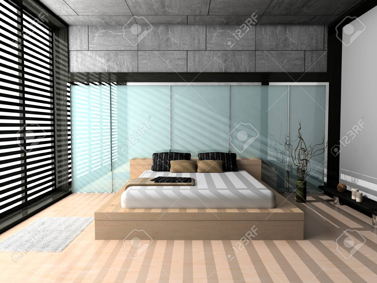 Modern interior of a bedroom room 3D Stock Photo - 23000566