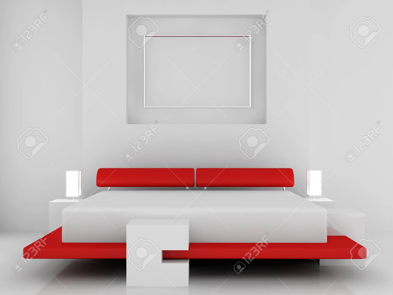 Modern interior of a bedroom room 3D Stock Photo - 7109079