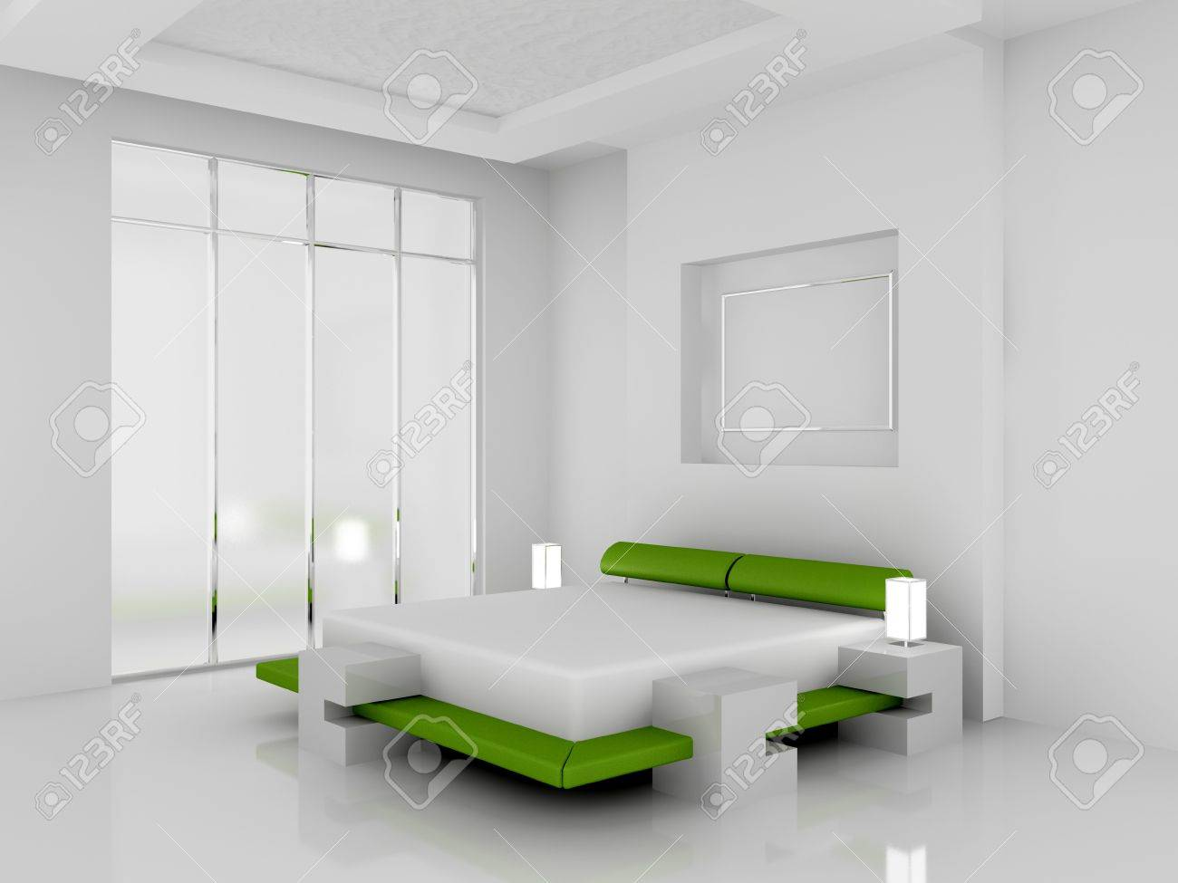 Modern interior of a bedroom room 3D Stock Photo - 7109090