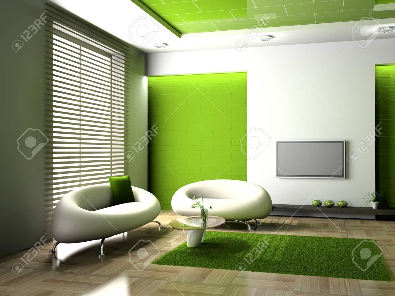 modern interior of living room 3D Stock Photo - 7349331