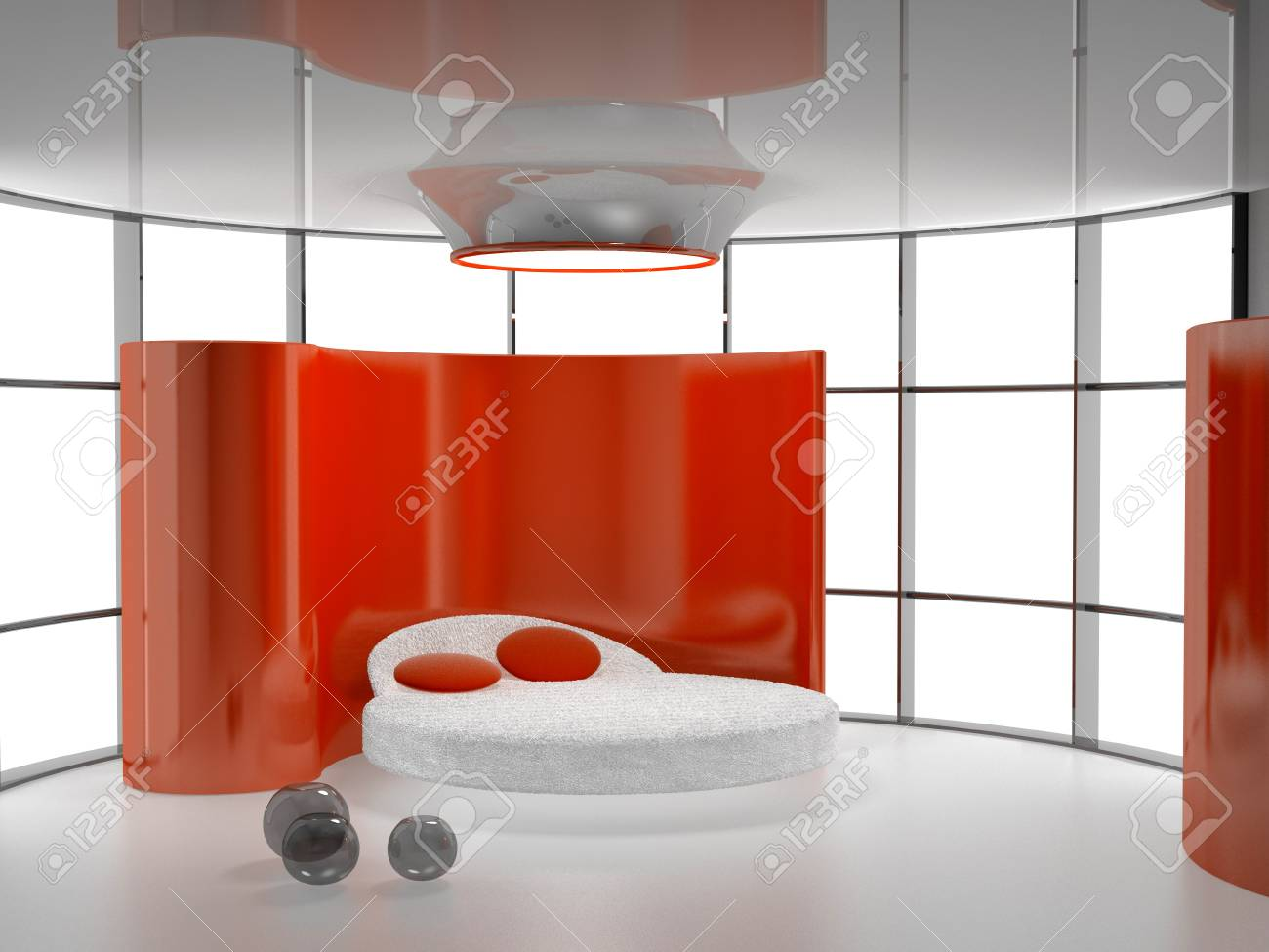 Modern interior of a bedroom room 3D Stock Photo - 8100571