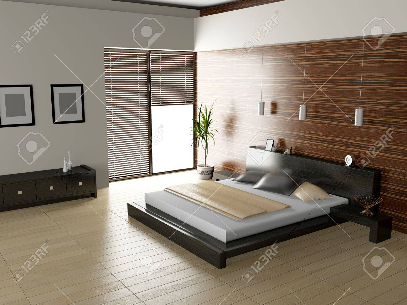 Modern interior of a bedroom room 3D Stock Photo - 23000612