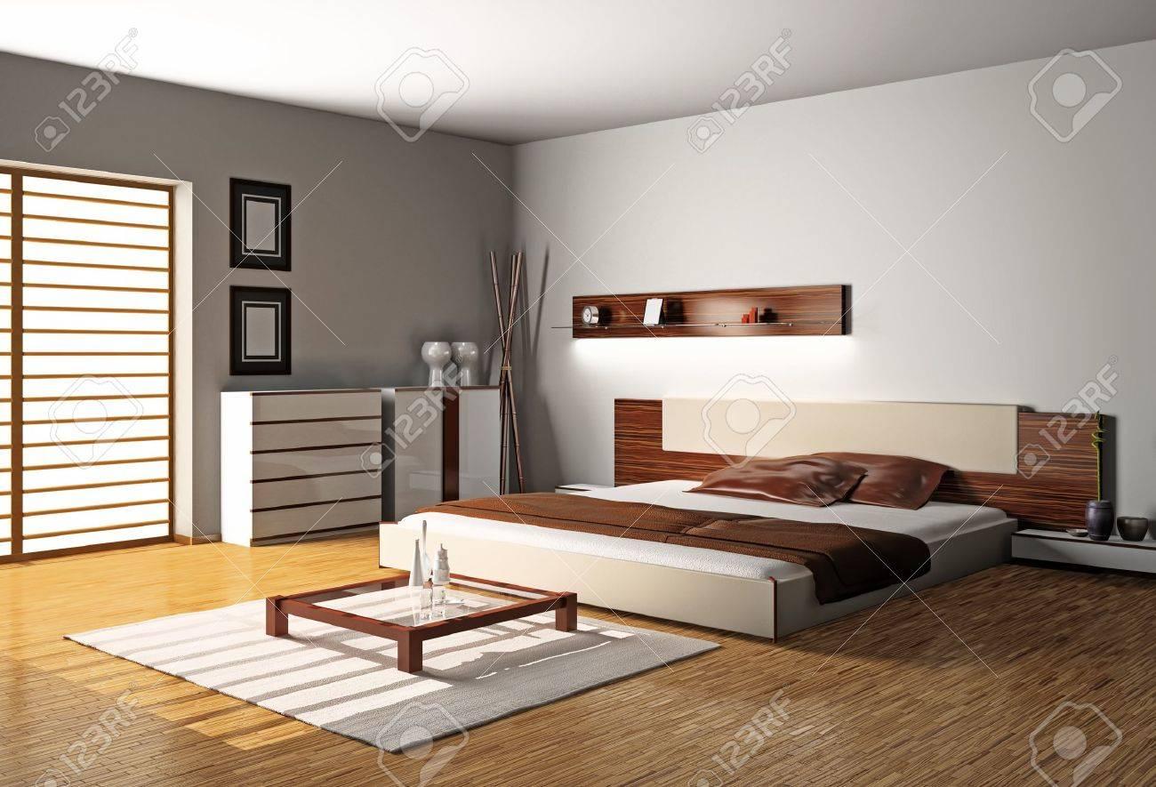 Int?rieur moderne d'une chambre ? coucher en 3d banque d'images et ...