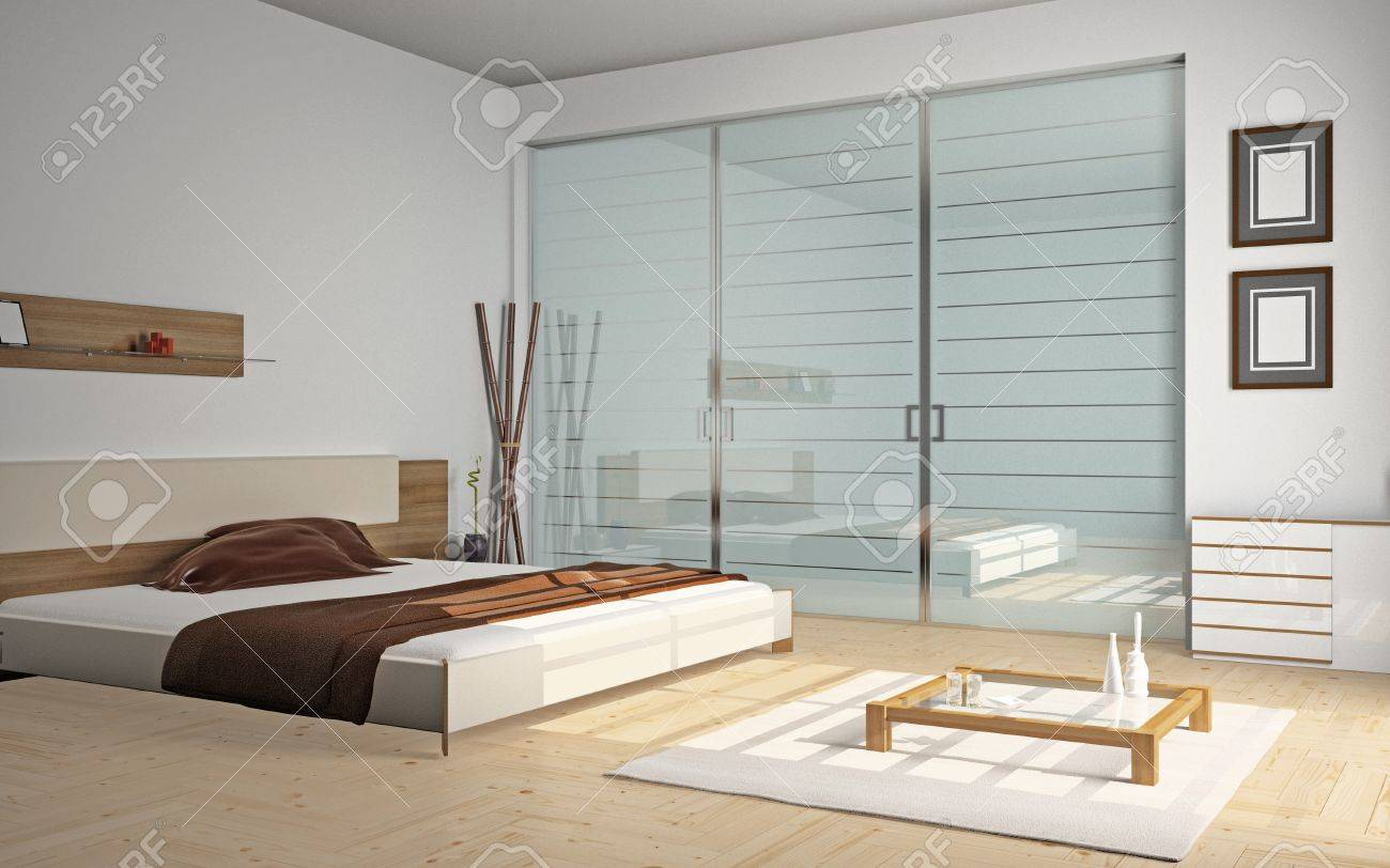 Modern interior of a bedroom room 3D Stock Photo - 8782508