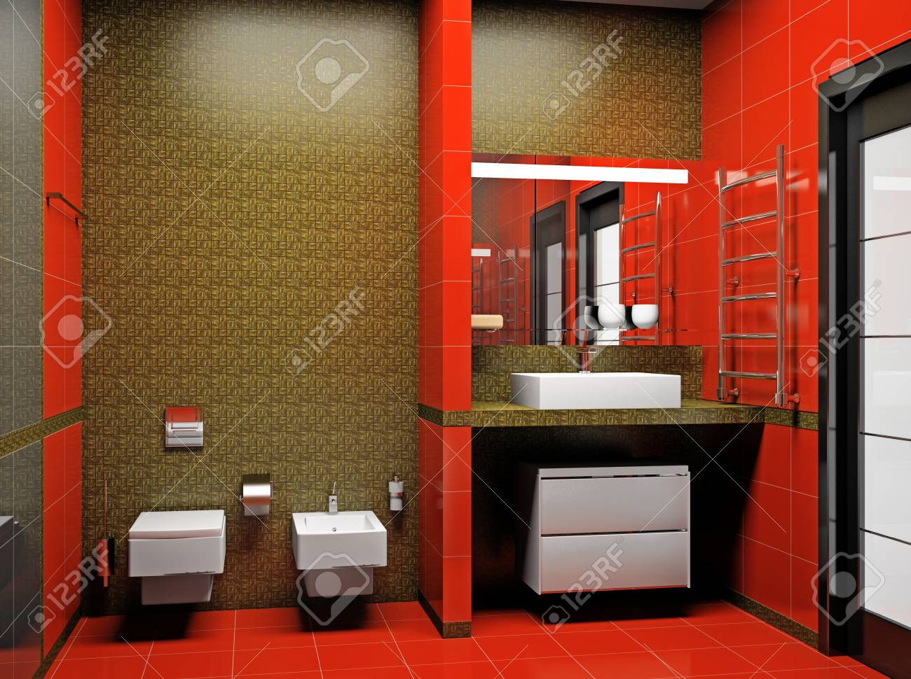 Modern interior of a 3D bathroom Stock Photo - 9395564
