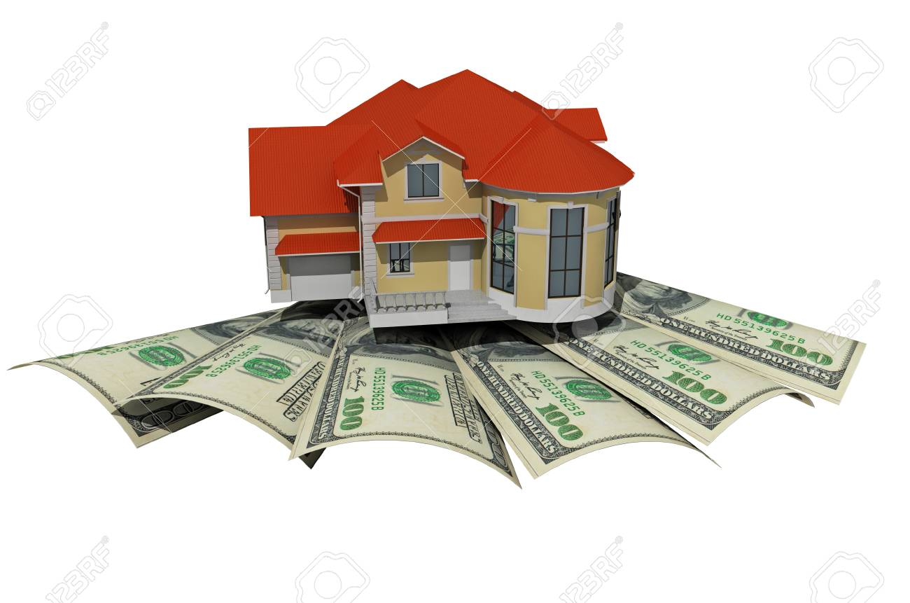 House with money over white background - mortgaging concept Stock Photo - 10044121