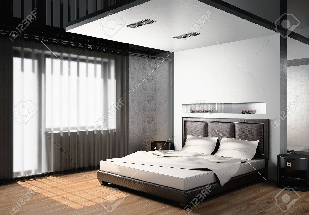 Modern interior of a bedroom room 3D Stock Photo - 10044134
