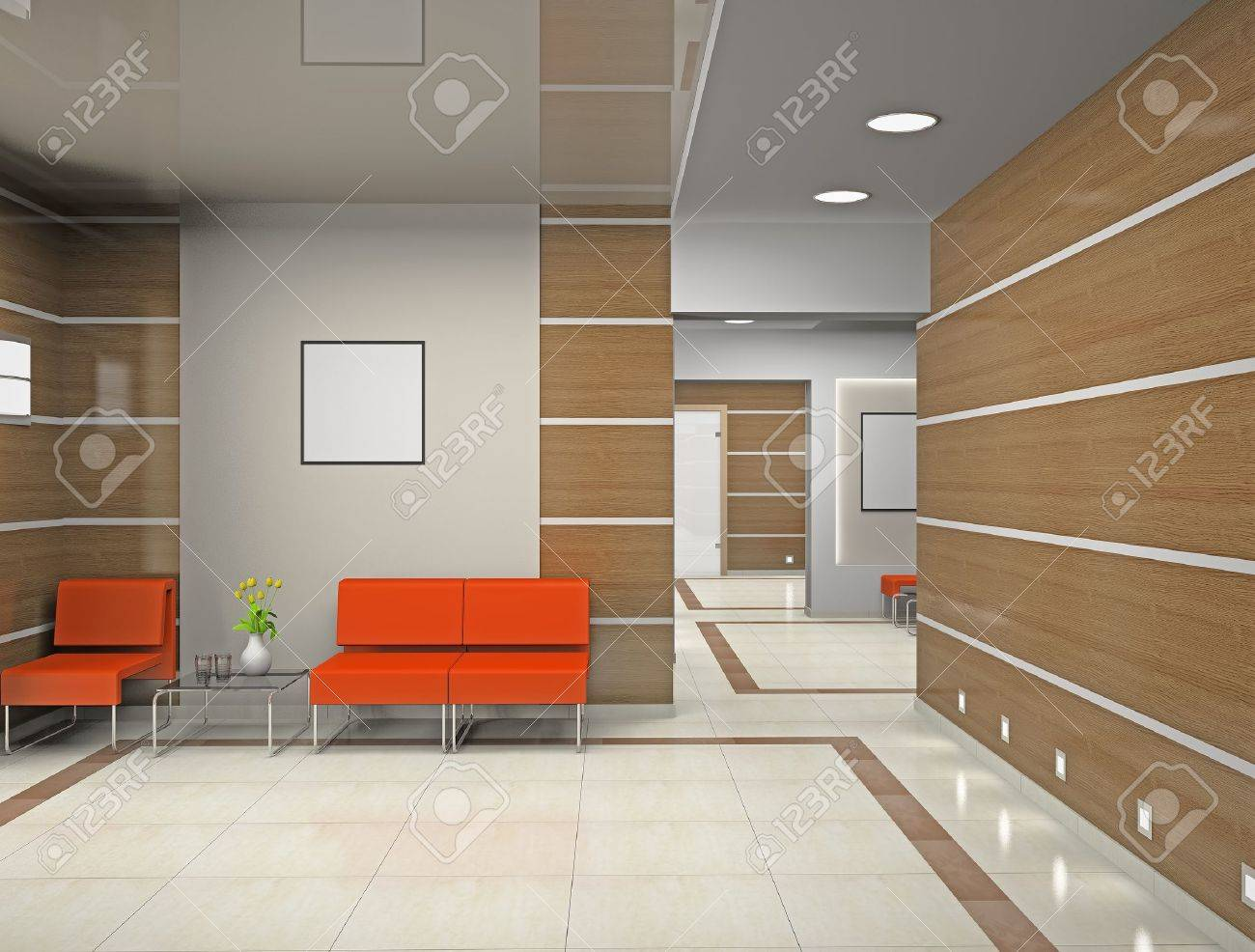 Hall a modern office (3D) Stock Photo - 10544984
