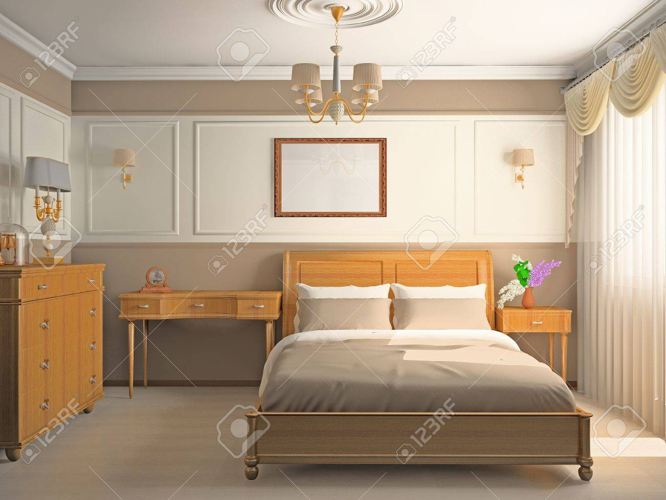 Modern interior of a bedroom room 3D Stock Photo - 10544982
