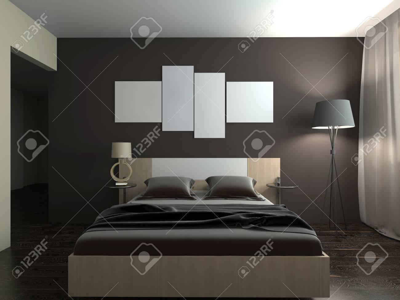 Intérieur moderne d\'une chambre à coucher rendu 3D