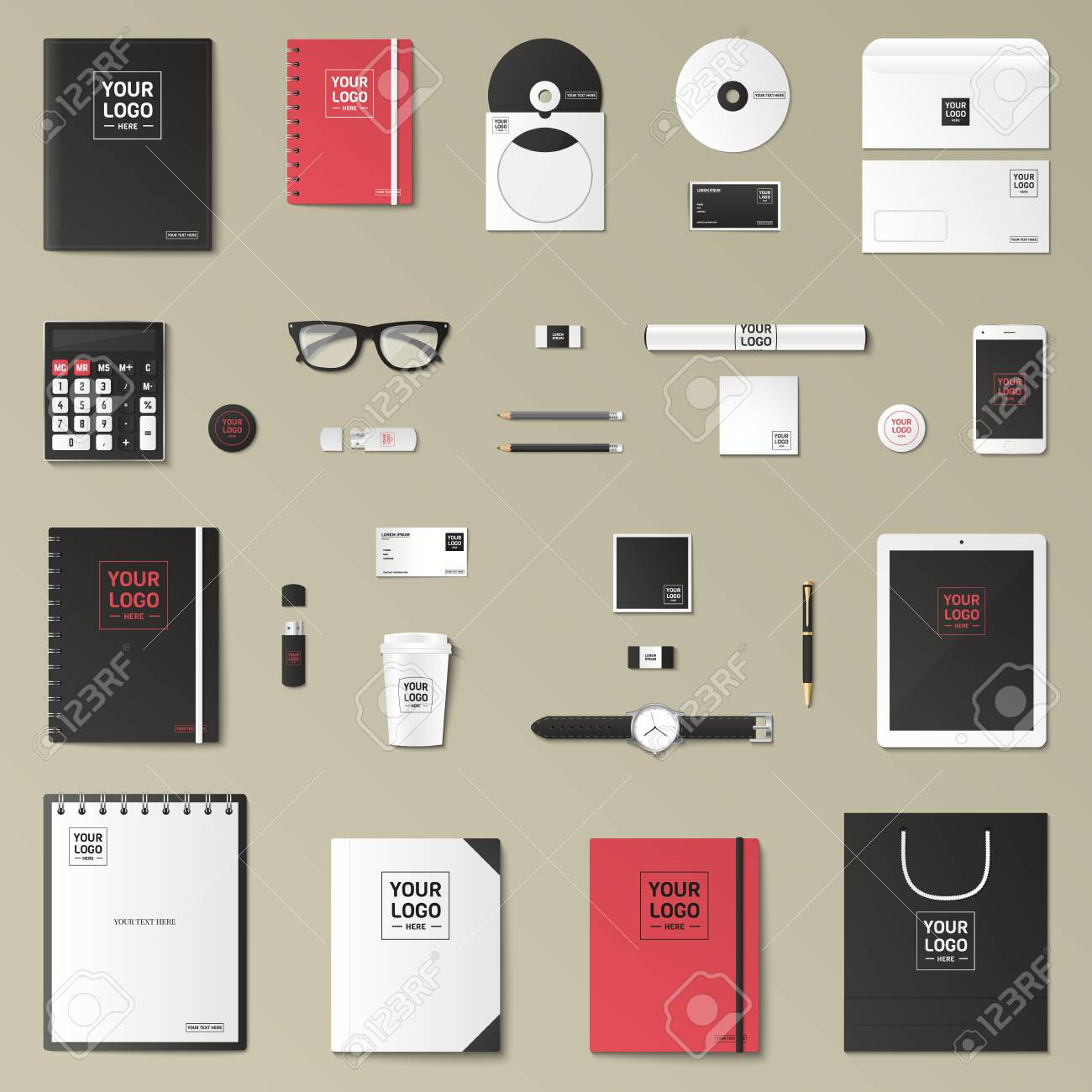 corporate identity template set business stationery mock up