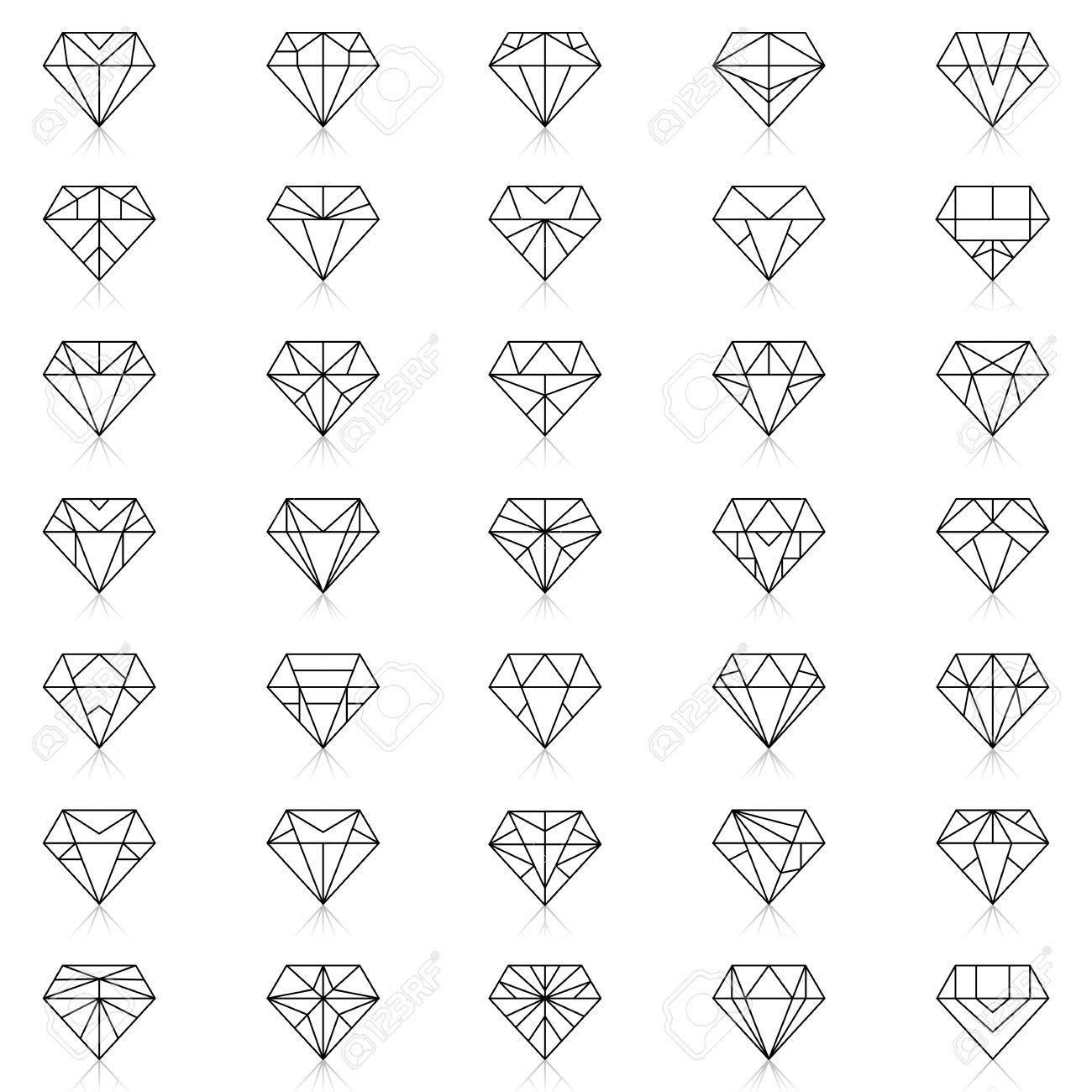 Diamonds Icons Set Design Element Symbol Of The Success Of