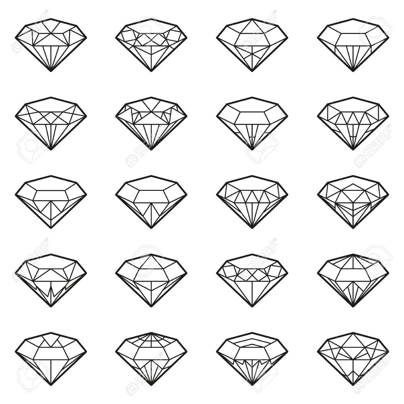 Diamonds Icons Set Design Element Symbol Of The Success Of Wealth
