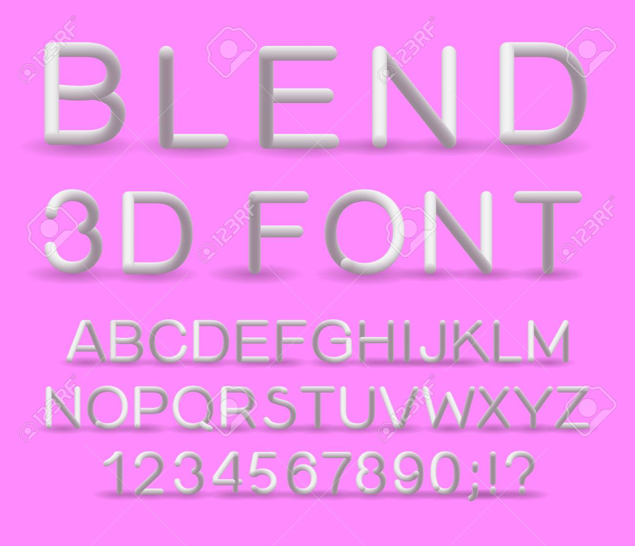 3d alphabet. Vector set of color letters. Font with a transition. Gradient lettering