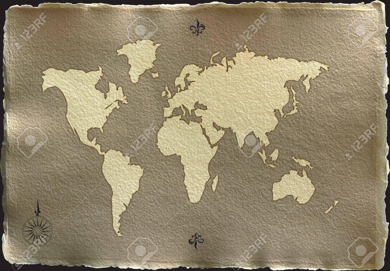 Come La Carta Pergamena Antica Mappa Su Uno Sfondo Bianco Con ...