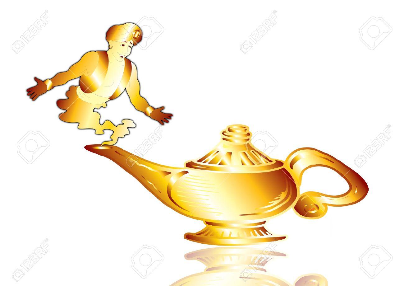 Good Aladdinu0027s Lamp With A Genie On White Ground Stock Photo   2158269
